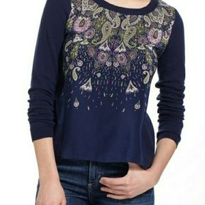 Anthropologie Moth Paisley Mixed Fabric Top L